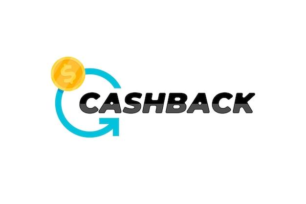 Symbolvorlage für cash-back-service-aufkleber. cashback-etikett für geldrückerstattung. blauer rotierender pfeil und goldmünzenemblem-vektorillustration