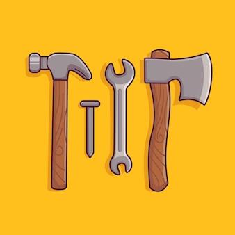 Symbolzange nagelt axthammer mit flachem cartoon