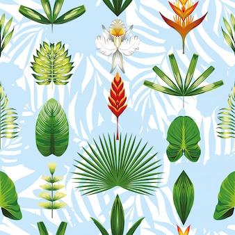 Symmetrische tropische blumen und blätter der nahtlosen mustertapete hellblau