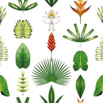 Symmetrische tropische blumen und blätter der nahtlosen mustertapete