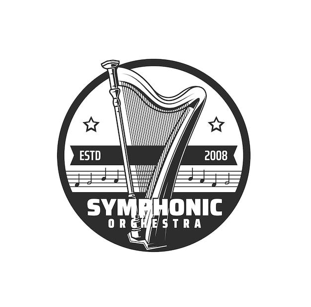 Symphonisches orchestersymbol, musikkonzert und harfe mit noten, vektoremblem. philharmonische oper und musikalisches symphonieorchester live-auftrittsschild mit harfe und musiknoten daube mit sternen
