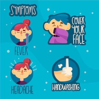 Symptome des virus-badge-sets