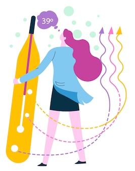 Symptome einer krankheit oder krankheit, coronavirus oder grippe. patient mit thermometer und hoher temperatur. fieber des weiblichen charakters. arzt überprüft ergebnisse der untersuchung, gesundheitsvektor im flachen stil
