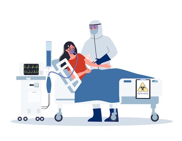 Symptome und behandlung. coronovirus-warnung. arzt in spezialausrüstung hospitalisiert infizierte frau.