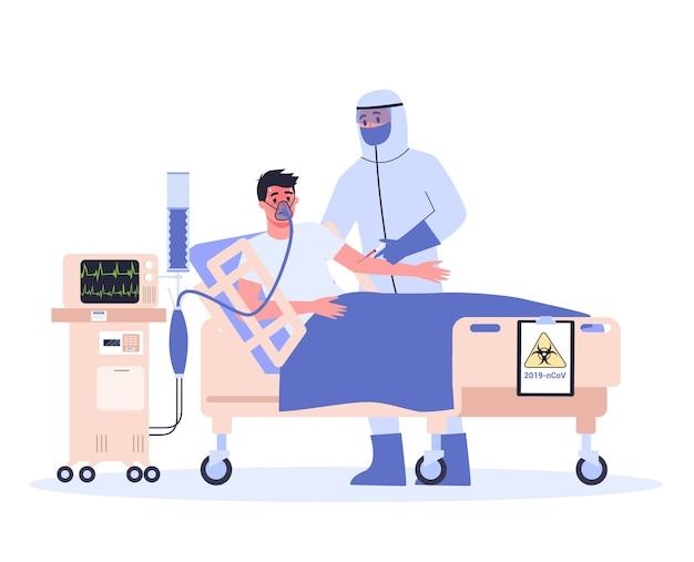 Symptome und behandlung. coronovirus-warnung. arzt in spezialausrüstung hospitalisiert infizierten mann.