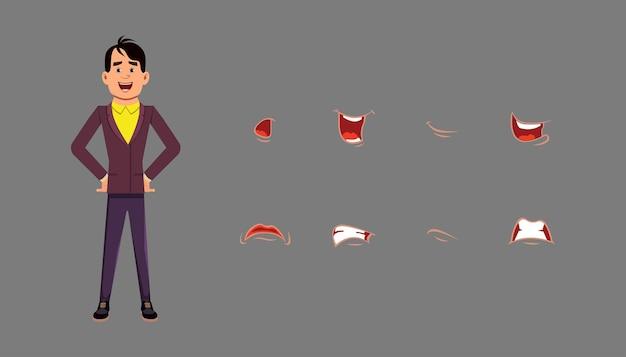 Synchronisationsset für mund und lippen der zeichentrickfigur. unterschiedliche emotionen für benutzerdefinierte animationen