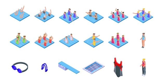 Synchronisierte schwimmsymbole gesetzt. isometrischer satz synchronisierter schwimmvektorikonen für das webdesign lokalisiert auf weißem hintergrund