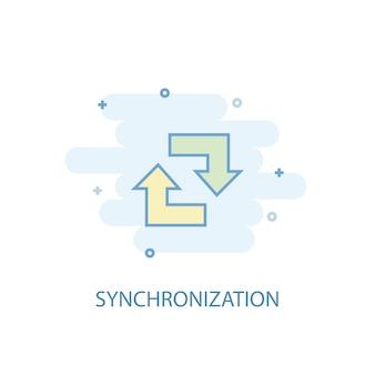 Synchronisierungsleitungskonzept. einfaches liniensymbol, farbige abbildung. flaches design des synchronisationssymbols. kann für ui/ux verwendet werden