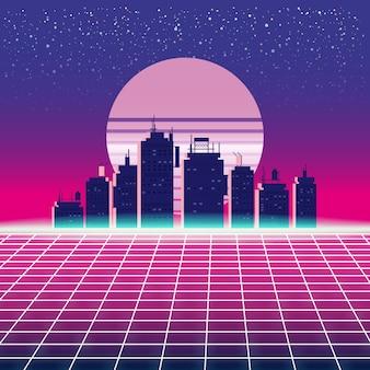 Synthwave retro futuristische landschaft mit stadt, sonne, sternen und gestyltem lasergitter. neon retrowave design und elemente sci-fi 80er 90er jahre raum
