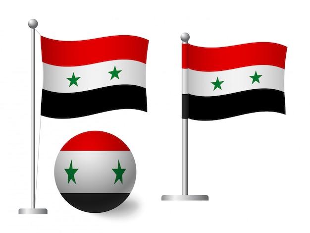 Syrien flagge auf stange und ballikone
