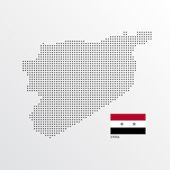 Syrien-kartenentwurf mit flaggen- und hellem hintergrundvektor