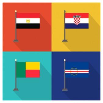 Syrien kroatien benin und kap verde flaggen