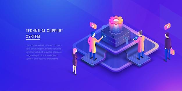 System des technischen supports personen, die mit dem zentrum des technischen supports interagieren