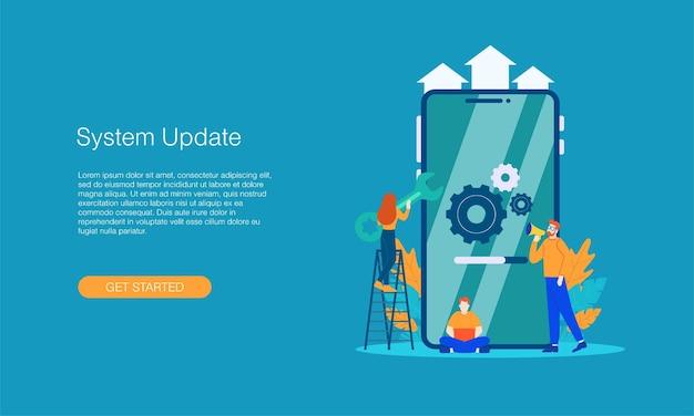 System-update-vektor-illustration-konzept isoliert