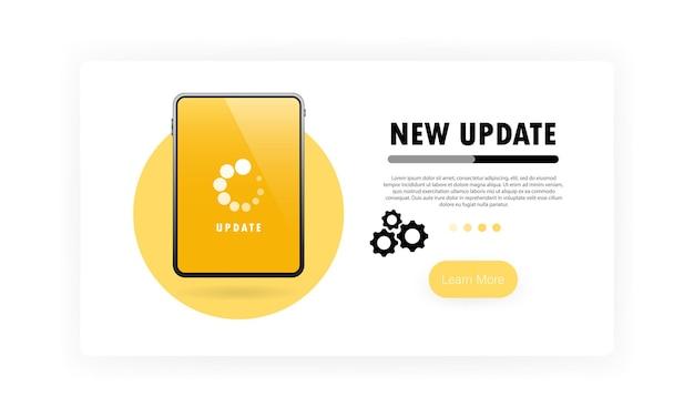 System-upgrade für tablet-banner. fortschritt mit zahnrädern aktualisieren. vektor auf weißem hintergrund isoliert. eps 10.