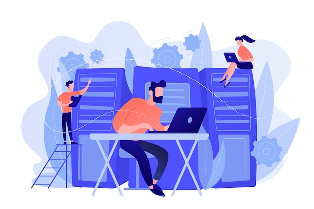 Systemadministratoren oder systemadministratoren warten server-racks. systemadministration, wartung, konfiguration von computersystemen und netzwerkkonzept. rosa korallenblau-palette. vektorillustration