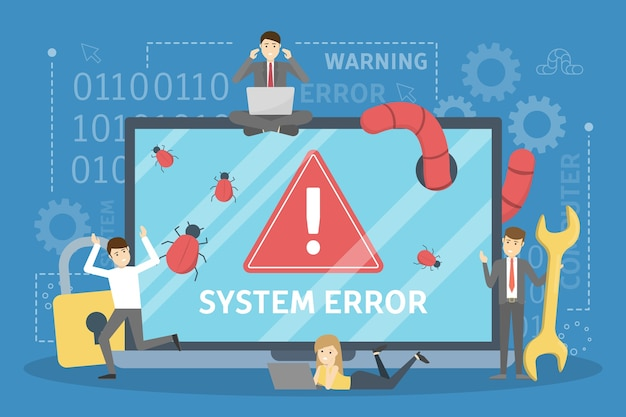 Systemfehler. die leute rennen vom computer in panik