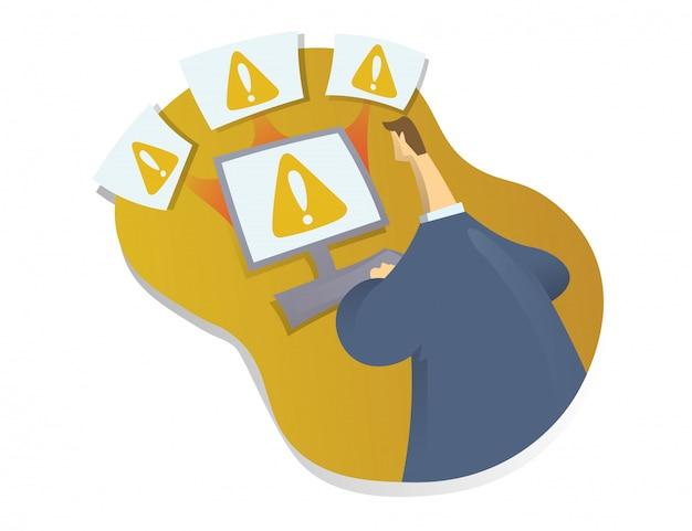 Systemfehler im netzwerk, computerviren-konzept. mann sitzt und arbeitet am computer. abstrakte illustration auf weißem hintergrund.