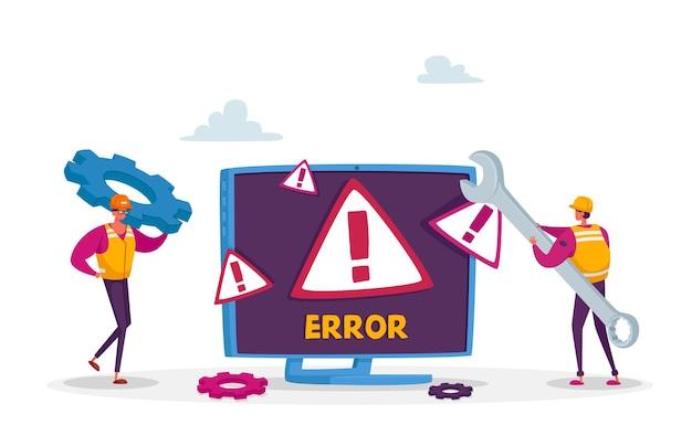 Systemfehler, website im aufbau. 404 seitenpflege. winzige männliche arbeiter-charaktere in uniform mit schraubenschlüssel-reparatur-netzwerkproblem