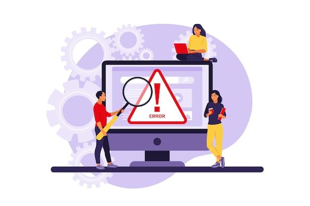 Systemfehlerkonzept. programmierer, die mit systemfehlern arbeiten.