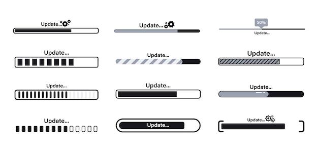 Systemleiste oder indikatoren herunterladen, aktualisieren und aktualisieren. aktualisieren sie das symbol für den anwendungsfortschritt für grafik, webdesign, anwendung oder software. lade- oder downloadprozess oder status