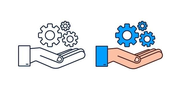 Systemsoftware-update oder upgrade-konzept mit händen banner neues update-abzeichen-zeichen