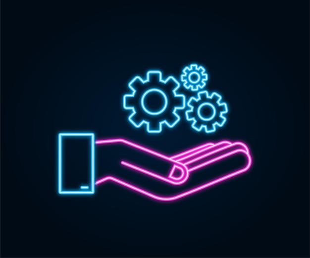 Systemsoftware-update oder upgrade-konzept mit händen banner neues update neon-abzeichen-zeichen