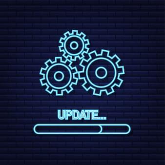 Systemsoftware-update oder upgrade-neon-symbol. banner neues update, abzeichen, zeichen. vektor-illustration.