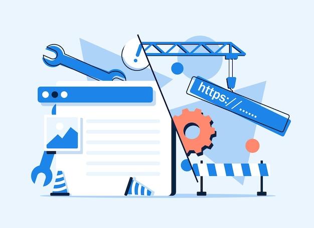 Systemupdatewebdesign und entwicklung website im aufbau