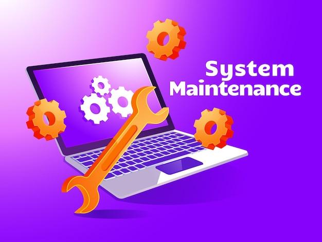 Systemwartungs-update internet-software-entwicklungswebseiten mit laptop