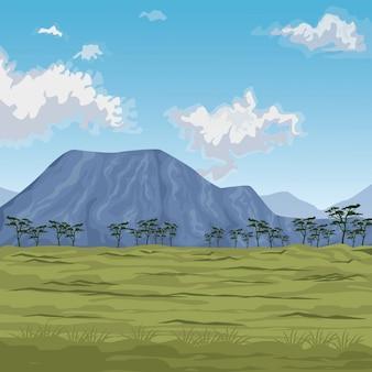 Szene afrikanische landschaft mit bergen und wiese