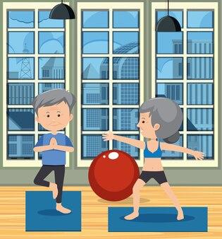Szene der älteren paare, die yoga tun