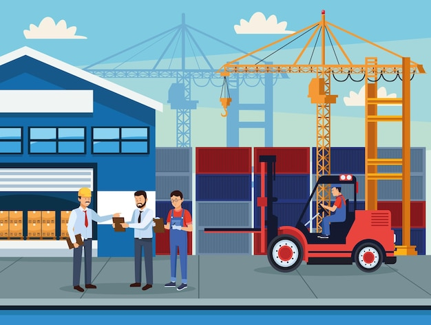 Szene der arbeiter in der logistikbranche