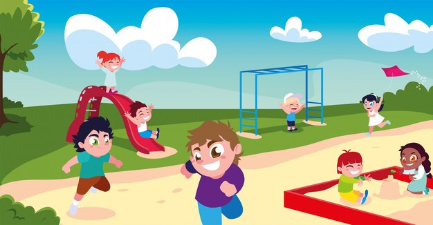 Szene der kinder, die im park lächeln und spielen