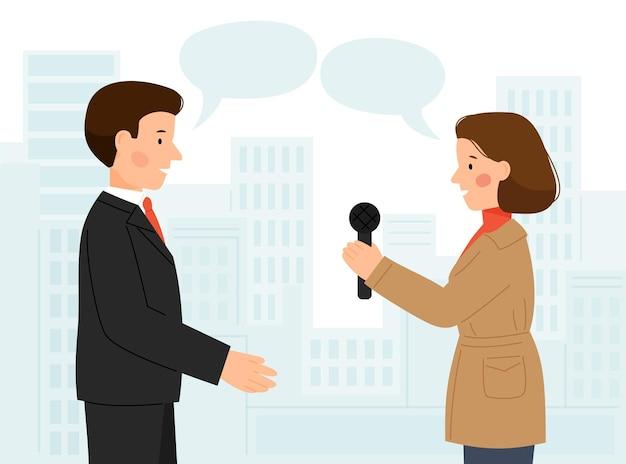 Szene des interviews von mann und frau auf dem hintergrund der stadt mann, der einem journalisten interviews gibt