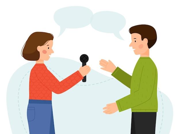 Szene des interviews von mann und frau ein mann und ein mädchen reden mann, der einem journalisten interviews gibt
