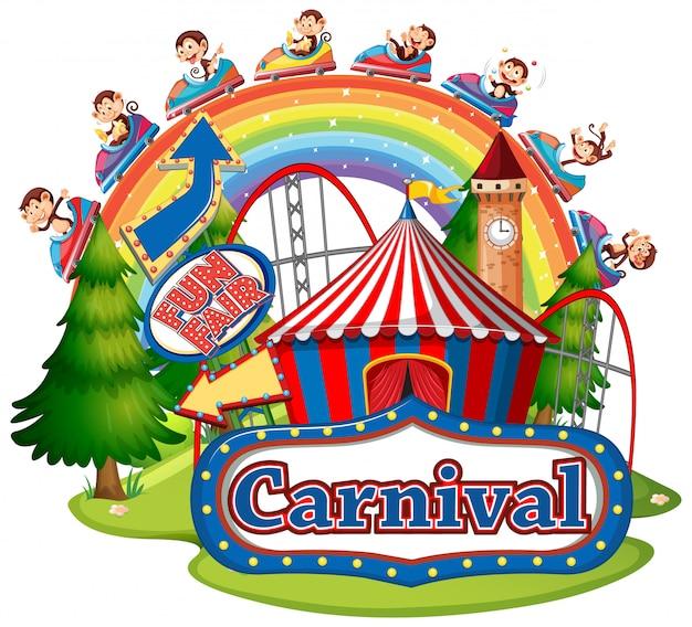 Szene mit affen, die am karneval auf weißem hintergrund reiten