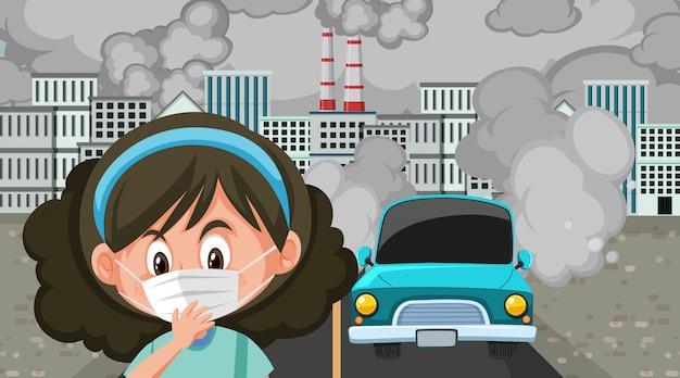 Szene mit autos und fabrikgebäuden, die schmutzigen rauch in der stadt machen