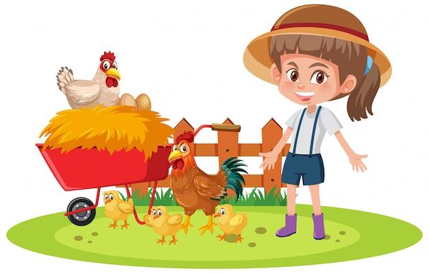 Szene mit bauernmädchen und vielen hühnern auf weißem hintergrund