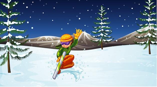 Szene mit dem athleten, der auf dem gebiet snowboarden