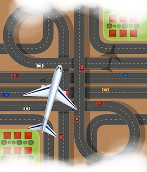 Szene mit dem flugzeug, das über die eilstraße fliegt