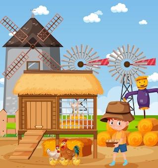 Szene mit dem kleinen jungen, der hühner auf der farm füttert
