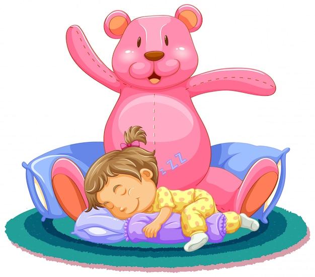 Szene mit dem kleinen mädchen, das mit rosa teddybär schläft