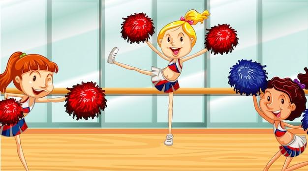 Szene mit den cheerleadern, die im raum üben