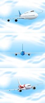 Szene mit den flugzeugen, die in den himmel fliegen