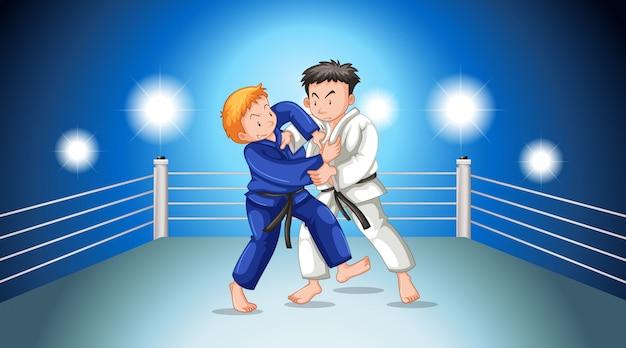 Szene mit den leuten, die karate am kämpfenden stadion tun