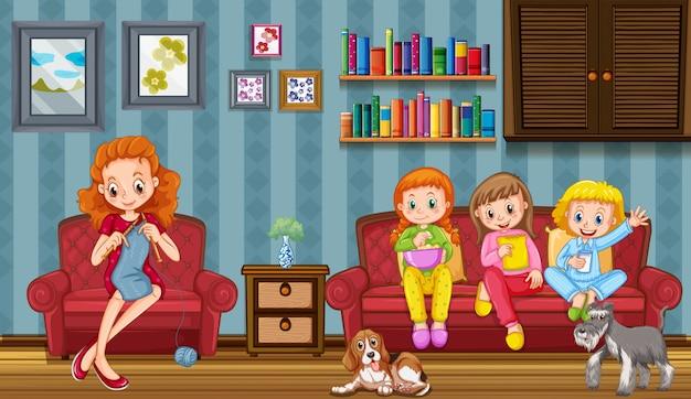 Szene mit der familie, die eine gute zeit zu hause hat