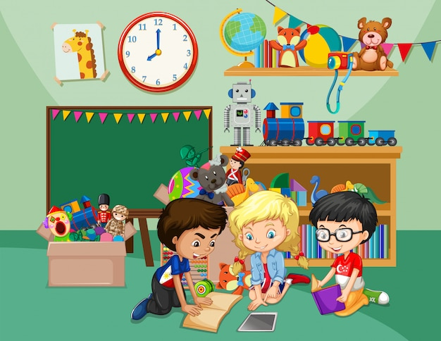 Szene mit drei kindern, die bücher im klassenzimmer lesen