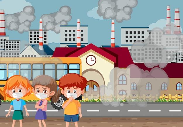Szene mit drei kindern, die maske vor der schule tragen