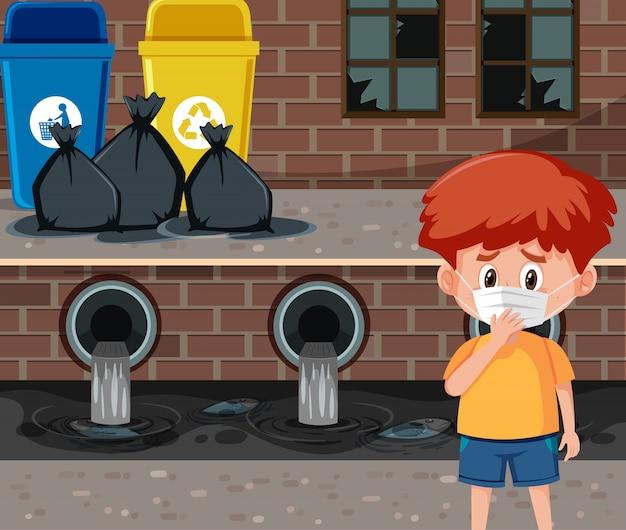 Szene mit einem jungen, der eine maske vor dem schmutzigen wasser trägt